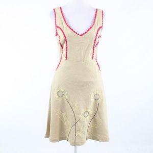 Anthropologie light beige pink A-line dress S